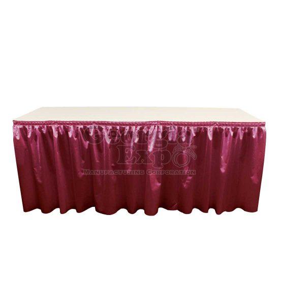 poly knit table skirt burgundy