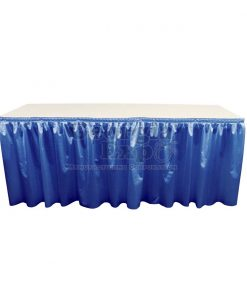 poly knit table skirt blue