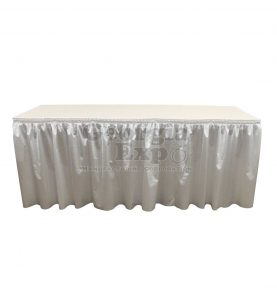 poly knit table skirt white