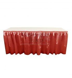poly knit table skirt orange