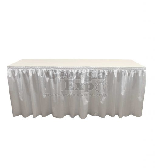 poly knit table skirt snow white