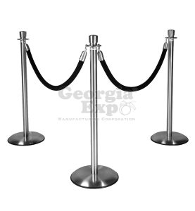 silver lobby stanchion polished chrome with black rope