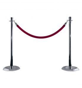 silver stanchion with burgundy rope
