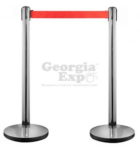 retractable belt stanchion polished with red
