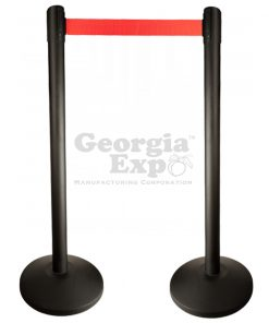retractable belt stanchion black with red
