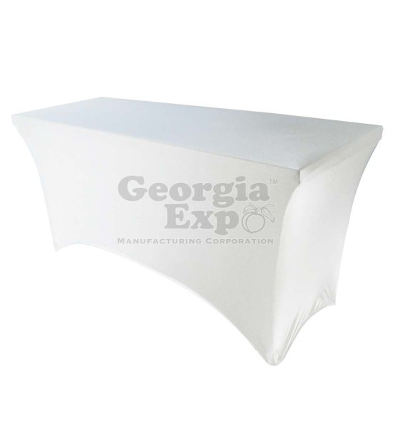 white spandex table over
