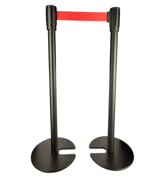 black stackable stanchions with red belt