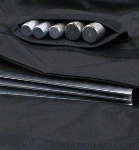 close up of black base bag with pins