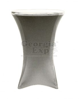 silver spandex cocktail table cover