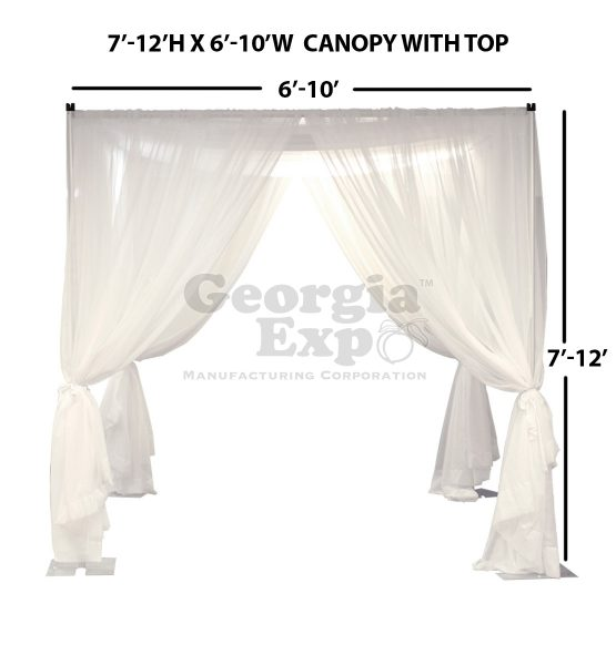 white sheer wedding canopy with top