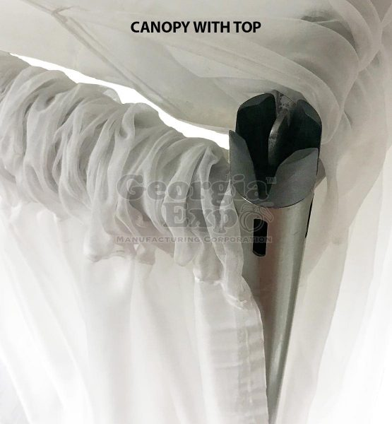 white sheer wedding canopy with top and castle top