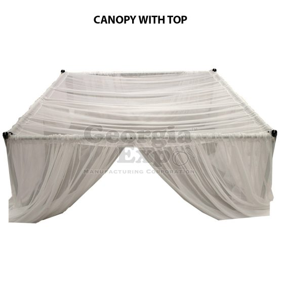 white sheer wedding canopy top