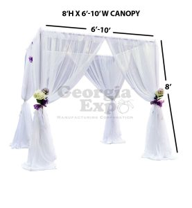 8 foot high white sheer wedding canopy