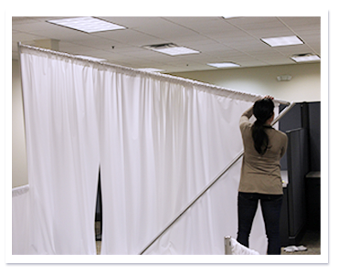 pipe and drape backdrop set up