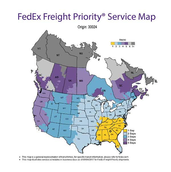 FedEx Freight Service Map