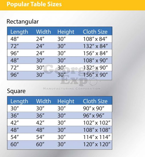 tablecloth size table