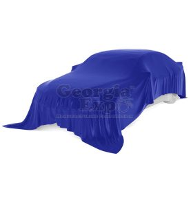 car with blue unveiling cloth
