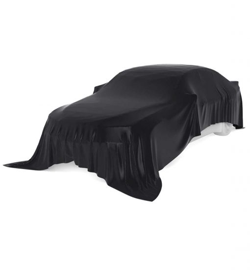 car with black unveiling cloth