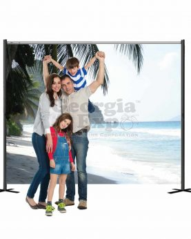 family in front of tropical backdrop