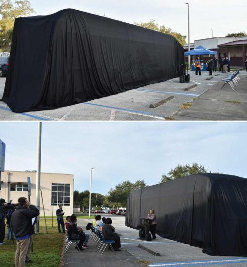 unveiling cloth for Bus