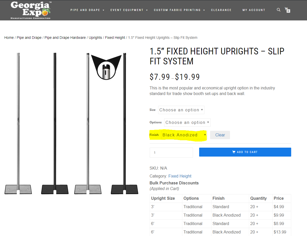 Black Anodized Uprights Product Page