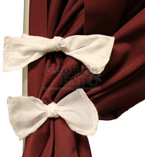 burgundy drape with white ties