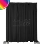 black drape wall with 16 foot adjustable height uprights