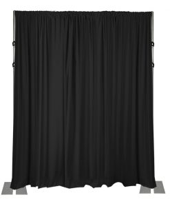 black drape wall 16 feet high with 3 piece adjustable uprights