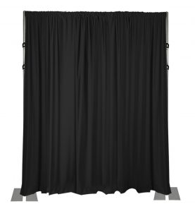 black drape wall 16 feet high with 3 piece adjustable uprights