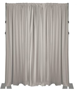 18 foot adjustable height back wall 3 piece uprights white drape