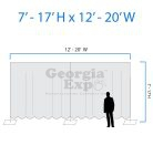 drape backwall diagram 7 feet to 17 feet high and 12 feet to 20 feet wide