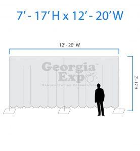 drape backwall diagram 7 feet to 17 feet high and 12 feet to 20 feet wide