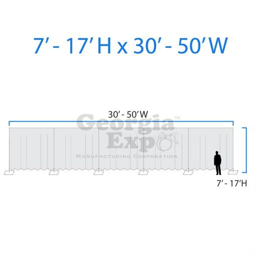 drape backwall diagram 7 feet to 17 feet high and 30 feet to 50 feet wide