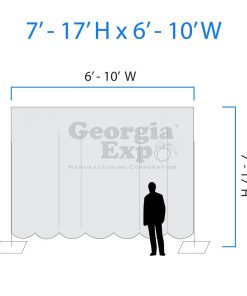 drape backwall diagram 7 feet to 17 feet high and 6 feet to 10 feet wide