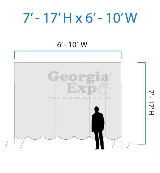 drape backwall diagram 7 feet to 17 feet high and 6 feet to 10 feet wide