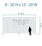 drape backwall diagram 8 feet to 20 feet high and 12 feet to 20 feet wide