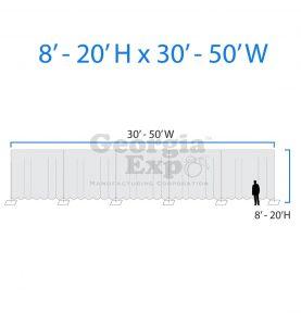 drape backwall diagram 8 feet to 20 feet high and 30 feet to 50 feet wide