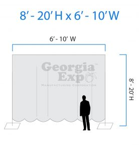 drape backwall diagram 8 feet to 20 feet high and 6 feet to 10 feet wide