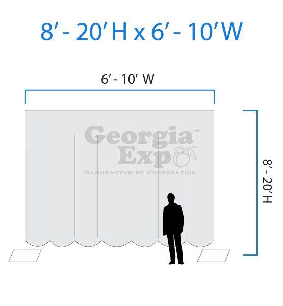 drape backwall diagram 8 feet to 20 feet high and 6 feet to 10 feet wide
