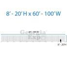 drape backwall diagram 8 feet to 20 feet high and 60 feet to 100 feet wide