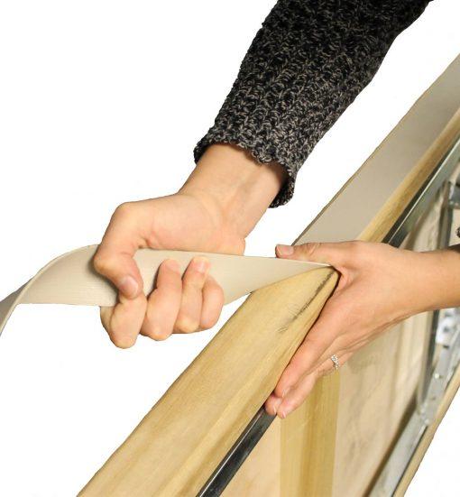 table edge staple strip application