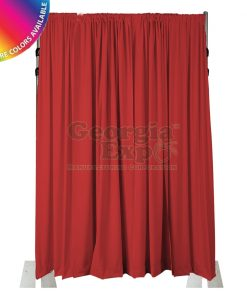 18 foot adjustable height back wall 3 piece uprights red drape
