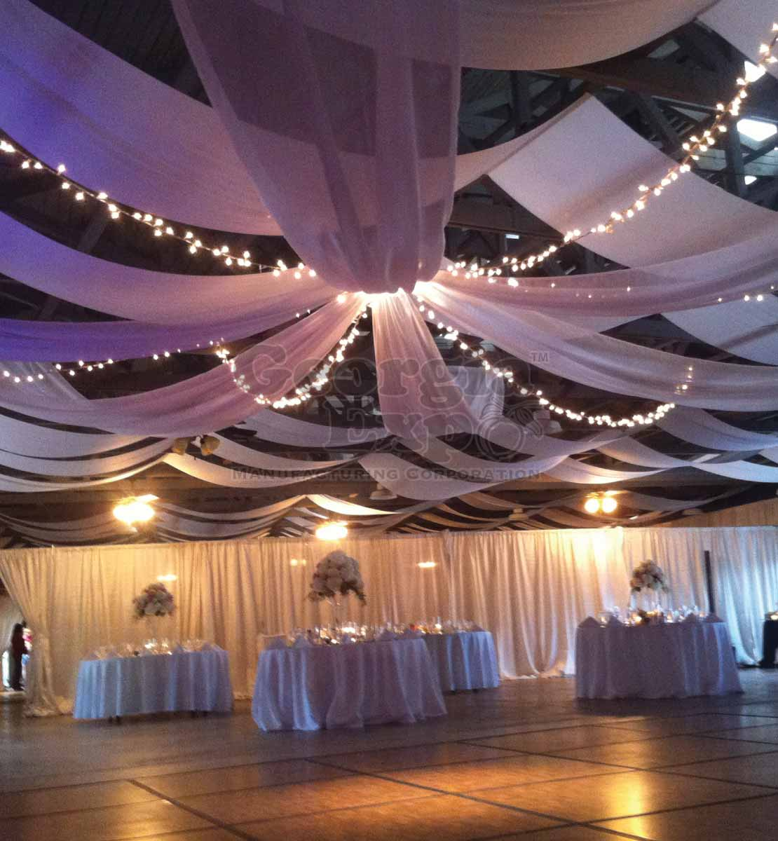 Ceiling Drape Kit 6 Panel 40ft Covers Up To 80ft Sheer Sheer Ceiling Drape Kits Wedding Decor Georgia Expo