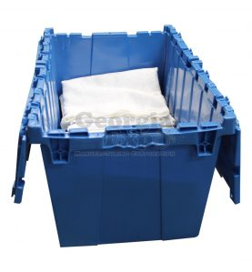 open transportation container with drape inside