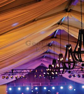 Sheer Ceiling Drape with lights