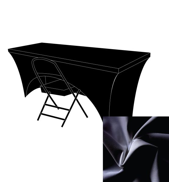 black spandex open back table cover
