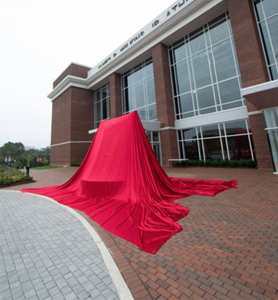 unveiling cloth red large statue unveil
