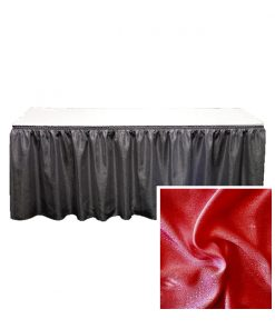 banjo table skirting red