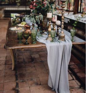 sheer table runner on a rustic table