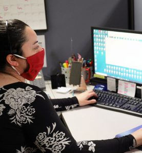 Pleated Fabric Masks red in use